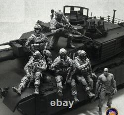 1/35 6pcs/lot Resin Figure Model Kit Modern US Soldiers Army (no car) Unpainted