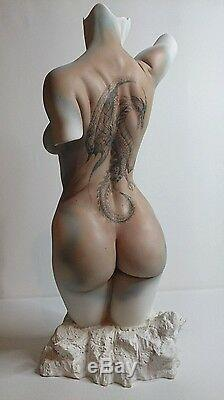 Erotic nude Female Torso dragon Tattoo Jaydee Models Sculpture Jonathan Dewar