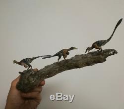 Three Troodon formosus Scene Statue Base Dinosaur Model Figure Collector Decor