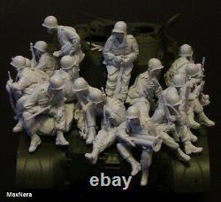 Unpainted 1/35 15pcs US Soldiers Pack Military Resin Figure Model Kit (NO TANK)