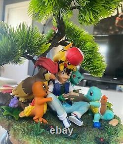 Énorme Ash & Sa Statue Pokemon! (rare) Bonsai Tree Pikachu Figure Modèle Résine